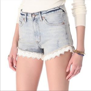 Free People Lace Jean Shorts